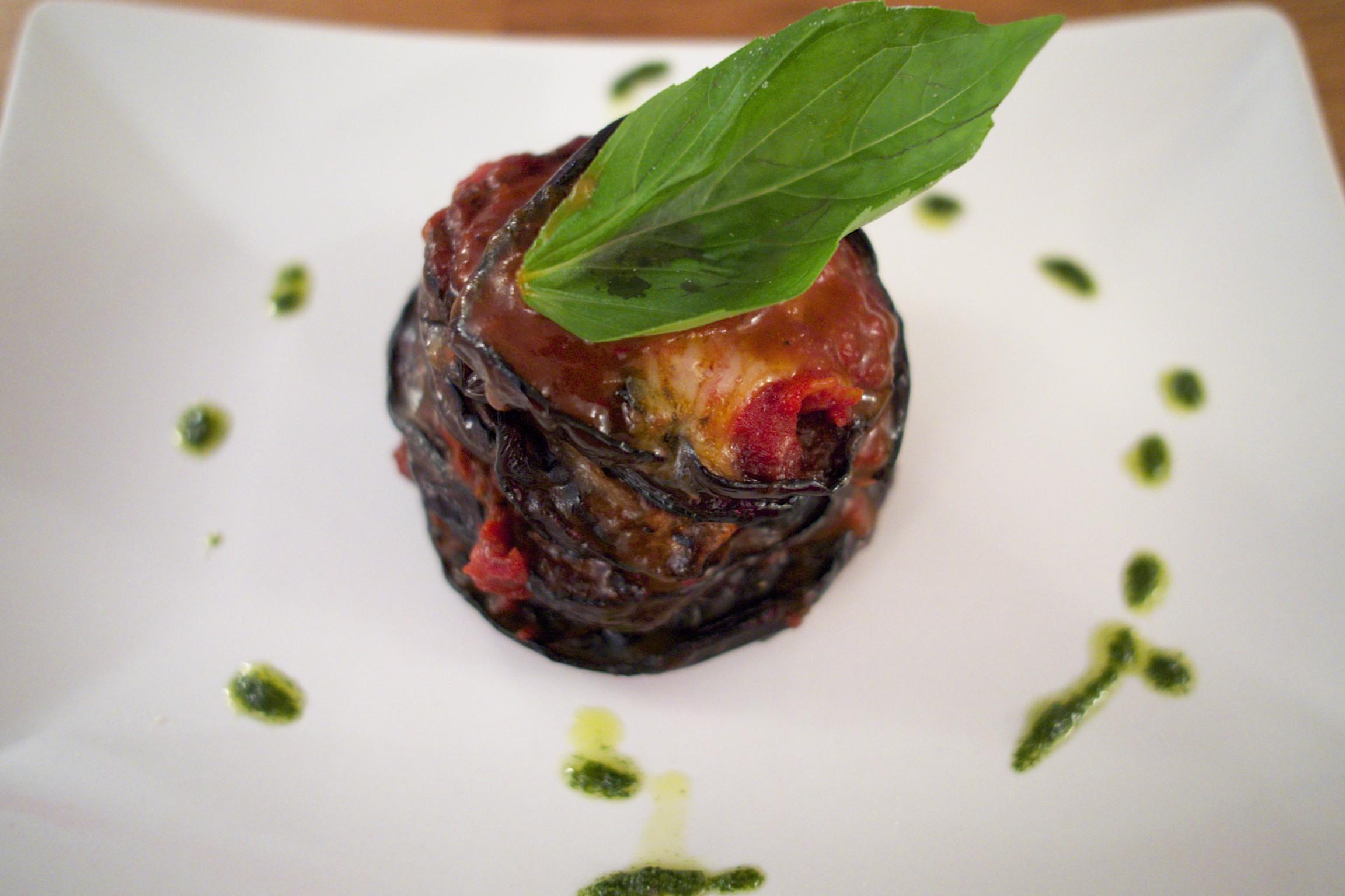 Aubergine Mozzarella Tomato Starter © Neil Hennessy-Vass