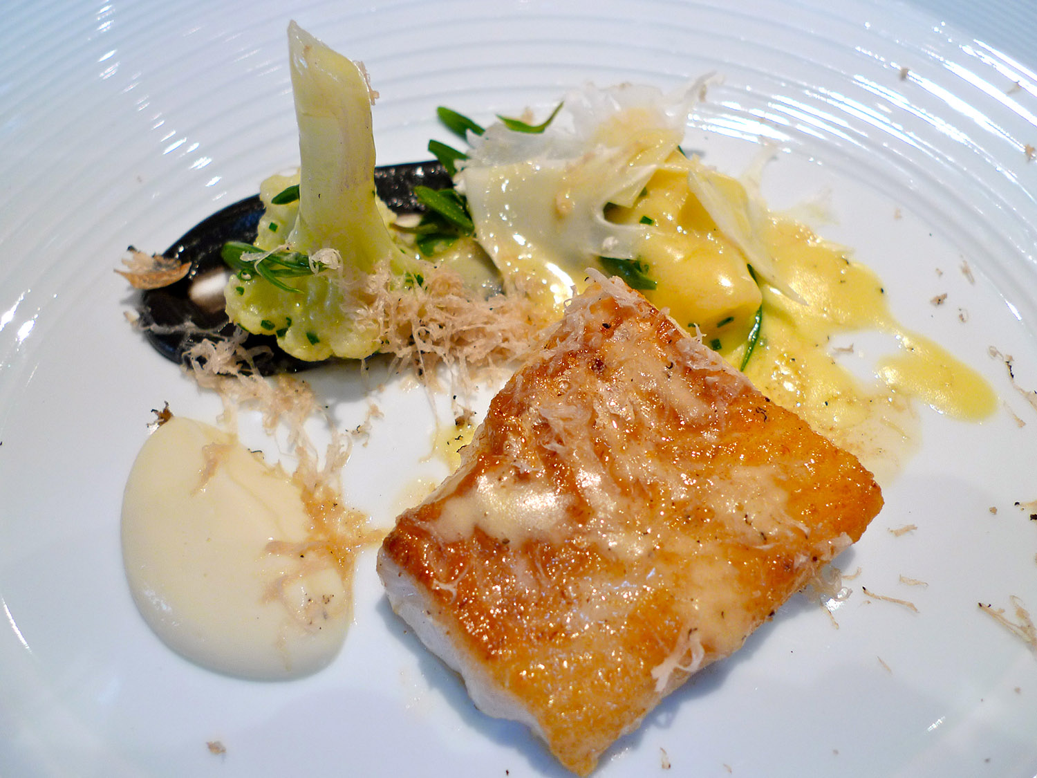 Roast Fillet of Cod with Cauliflower, Paresan Gnocchi & Truffle © Neil Hennessy-Vass
