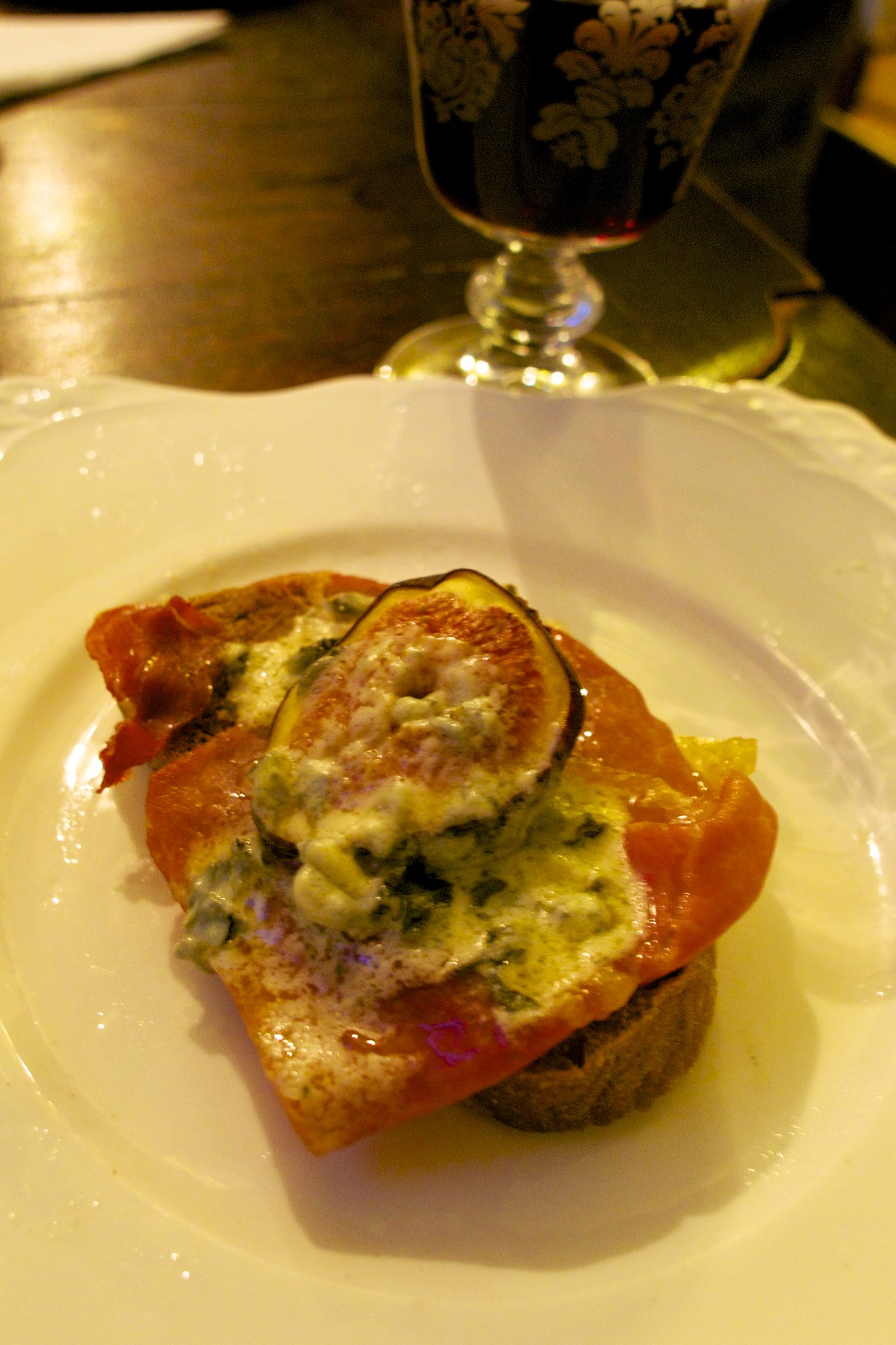 Roasted Fig With Serano Ham and Blue Cheese
