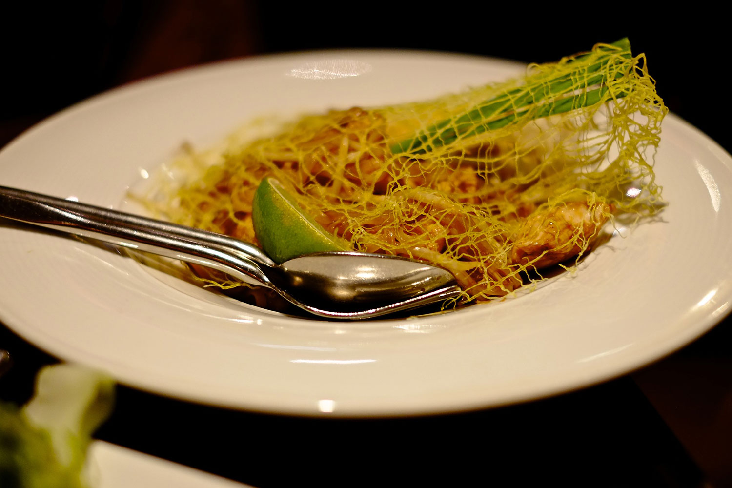 Pad Thai with intricate egg netting