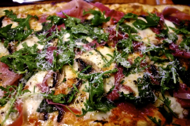Pizza Al Tartufo, Truffle, Mushrooms, Parma Ham, Gorgonzola, Rocket and Basil