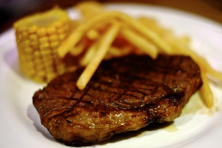 Sirloin Steak with Fries and Corn
