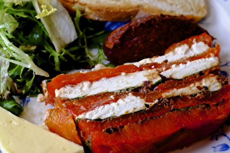 Goats Cheese with Roasted Red Pepper and Basil terrine