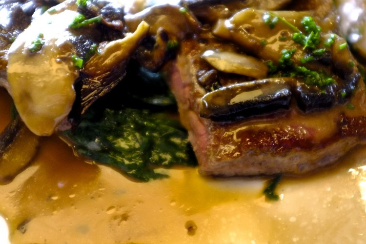 Sirloin Steak with Spinach and Mushroom Sauce