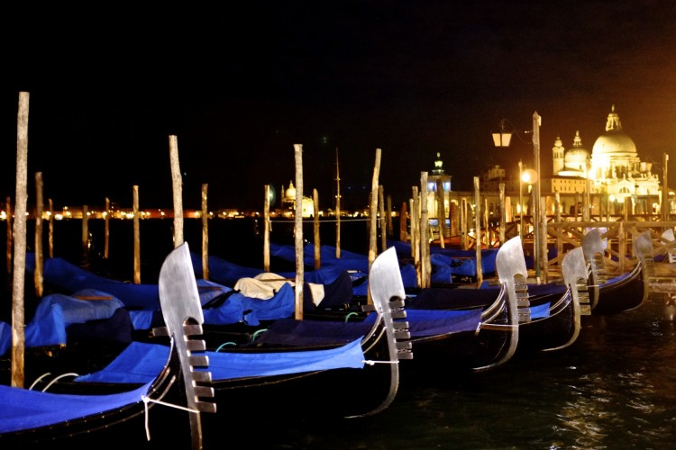 Gondolas at night