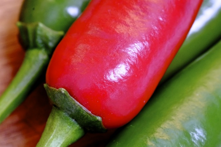 Red and green chillies c/u