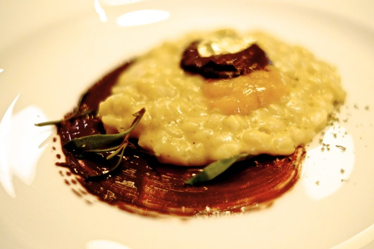Sea Urchin Risotto with water based ganache