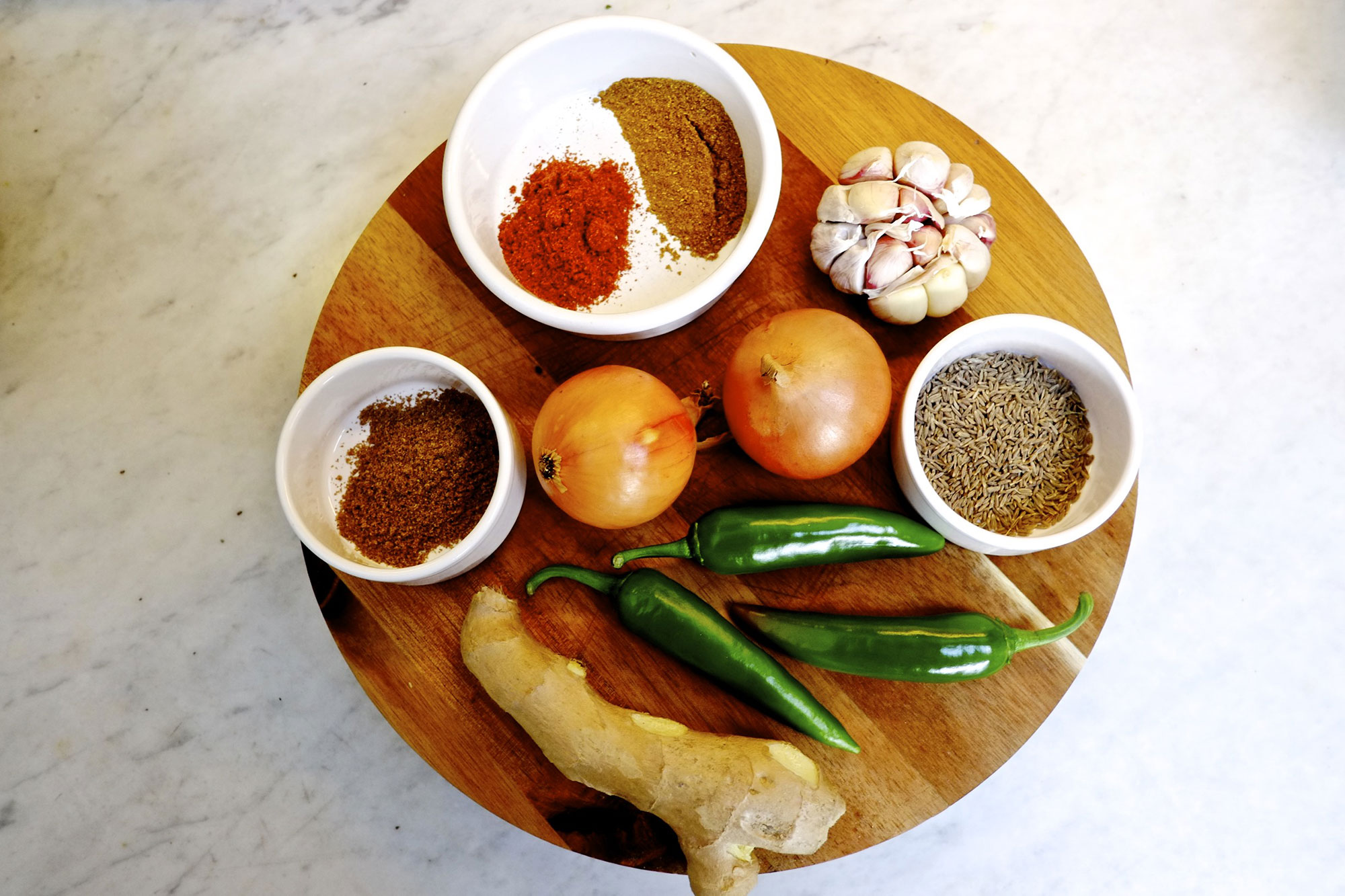 Spices on round board