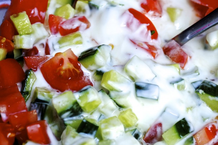 Tomato and cucumber raita