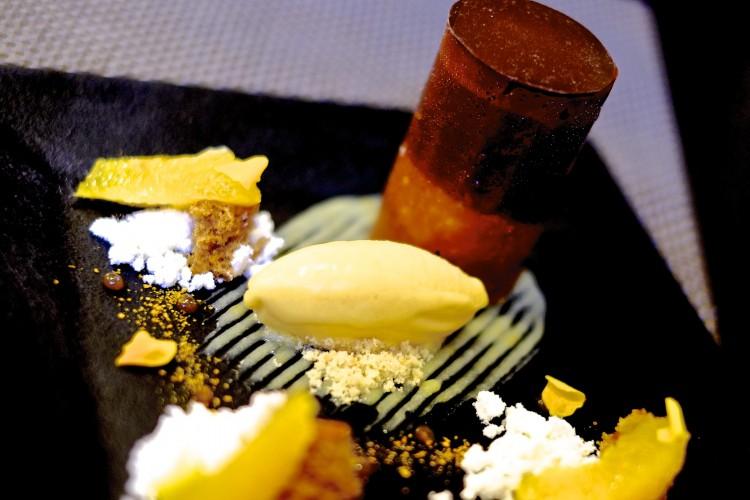 Gingerbread; Warm Chocolate Mousse, Citrus Powder and Orange Ice Cream