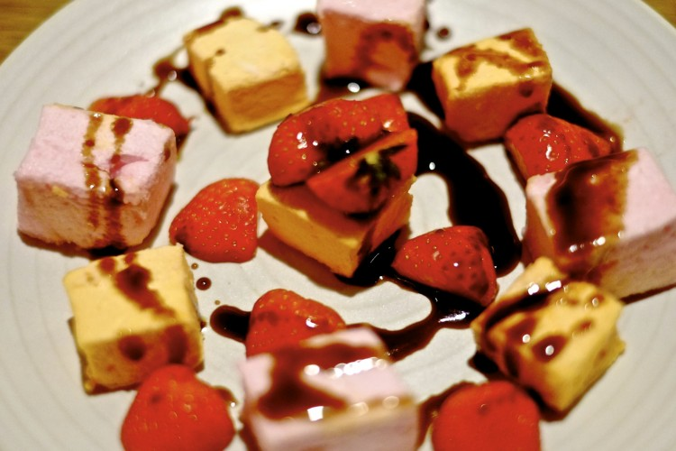 Marshmallow, Strawberries, Chocolate Sauce