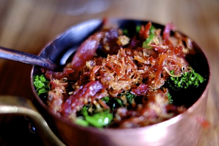Curly Kale with crispy Ham Hock