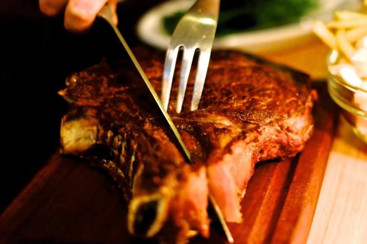 Beef being cut