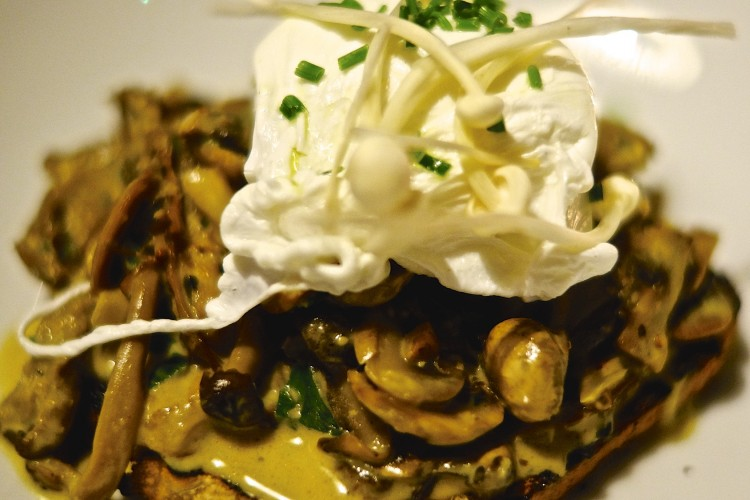 Devilled Mushrooms with Poached Egg