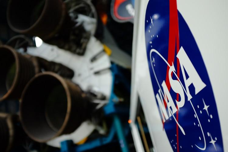 NASA Sign and Rocket Boosters