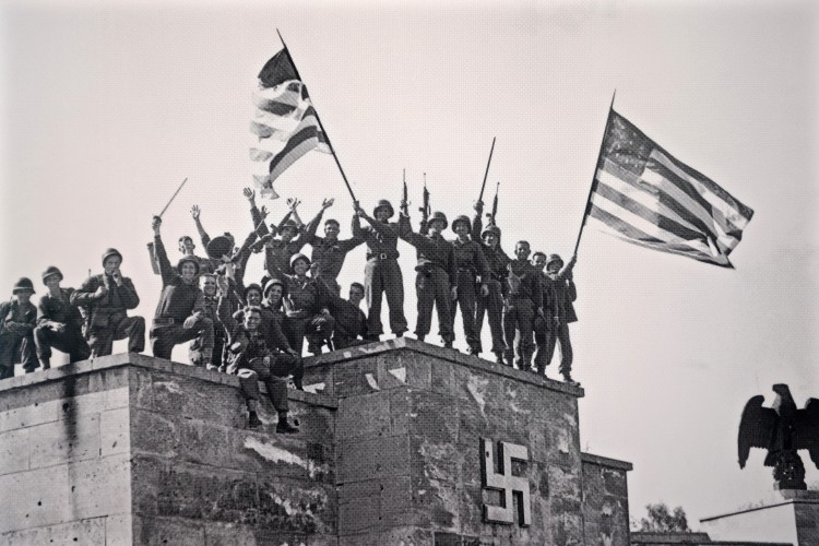 Victorious Troops on Nazi Building