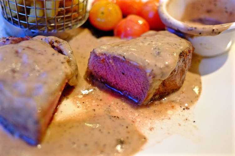 Steak with Pepper Corns